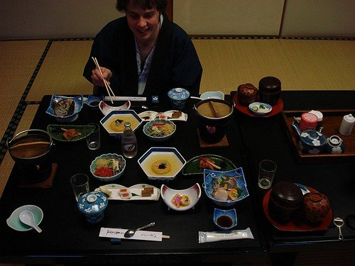 Me enjoying a traditional Japanese kaiseki meal in a ryokan somewhere outside Kyoto